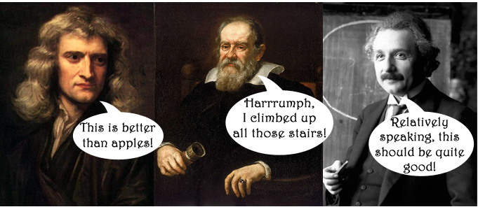 Sir Isaac Newton, Galileo Galilei, and Albert Einstein